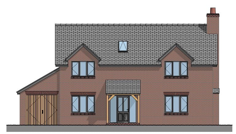 Plot 3 Front Elevation 2 Land Adj Chestnut Cottage Knockin